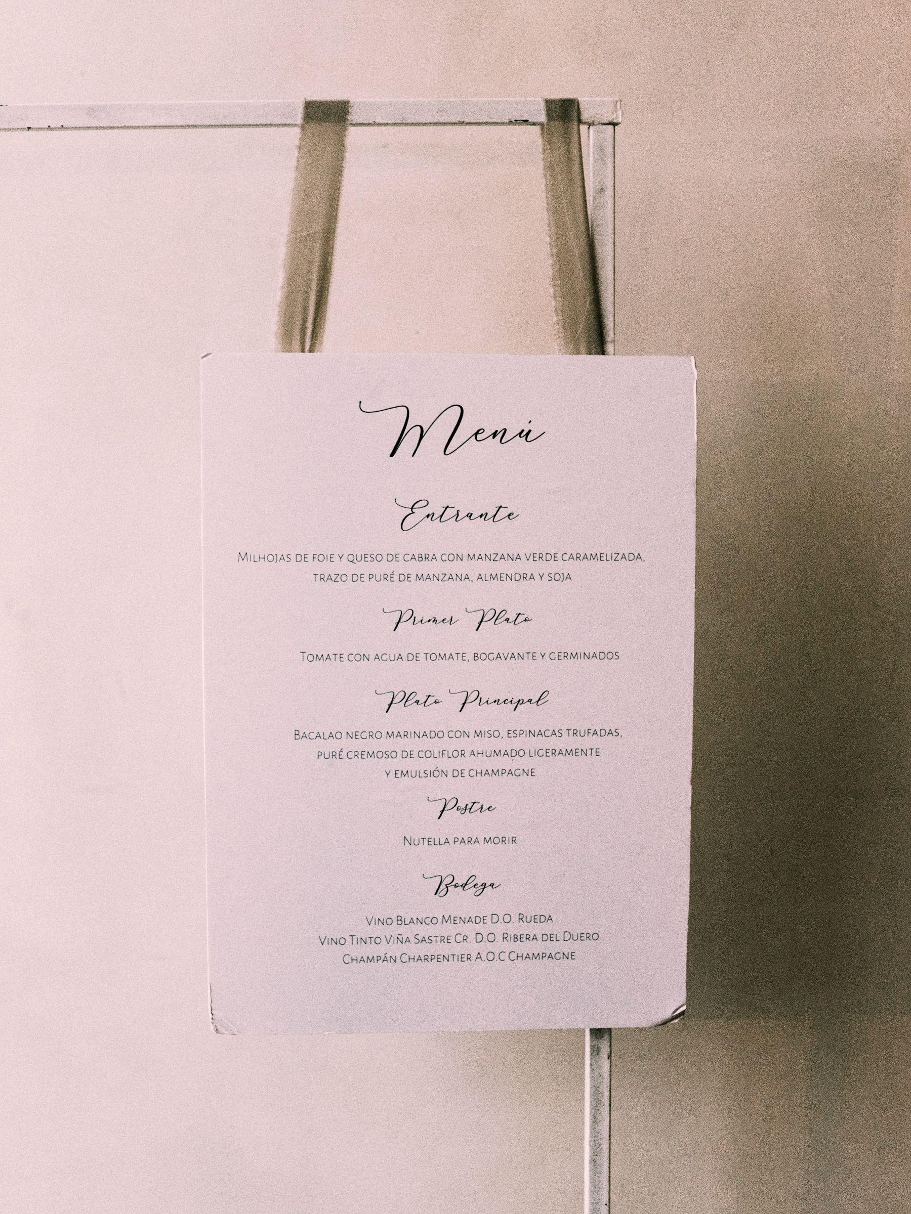 Menú de la boda de Lili